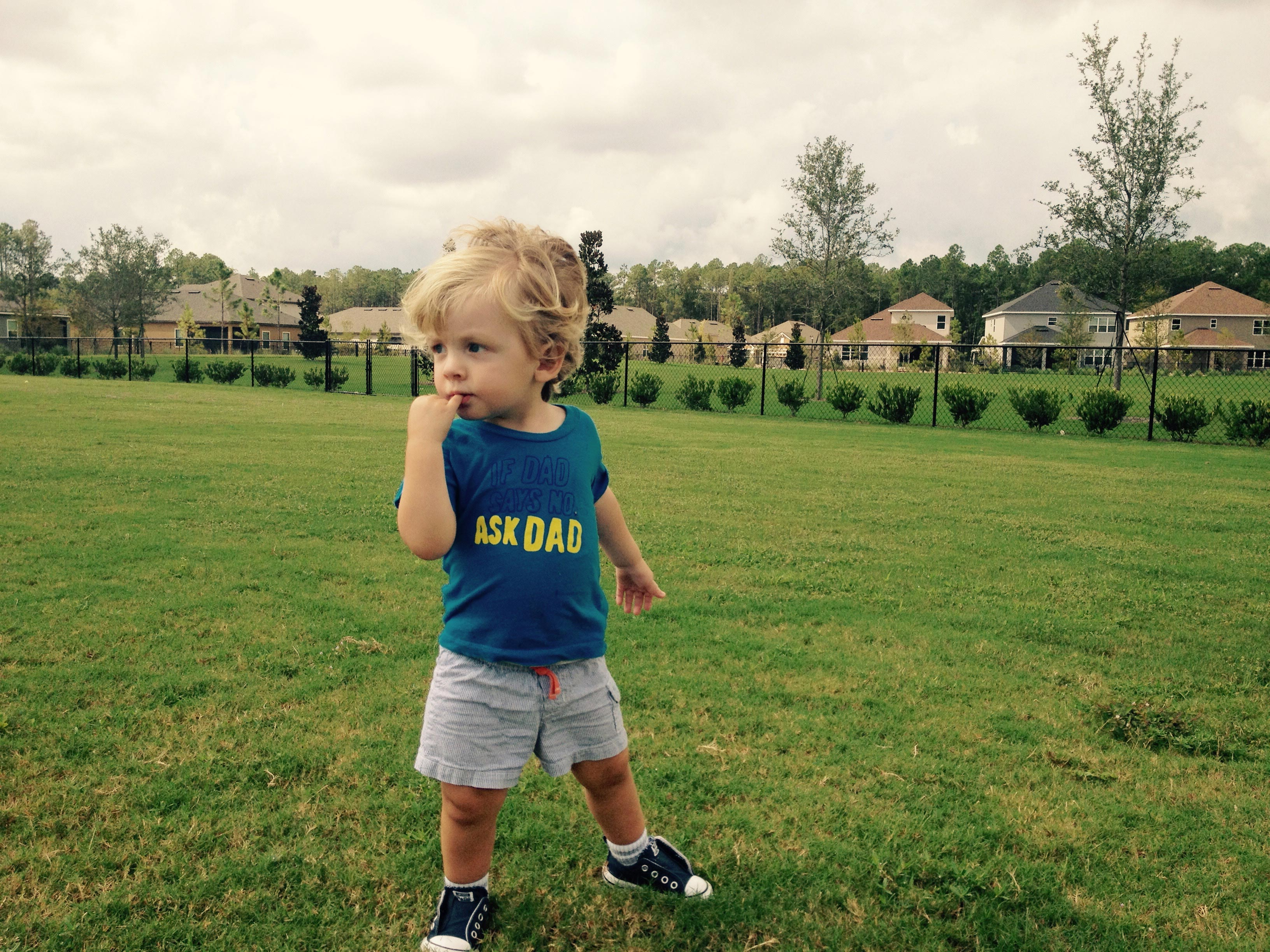 Hayden strikes a stoic pose at the playground.
